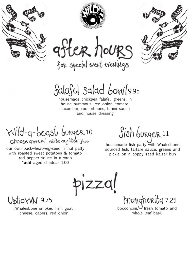 After hours menu