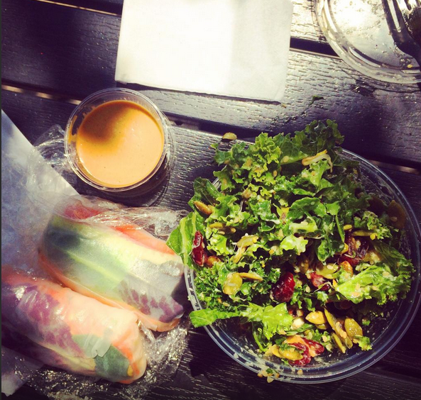 Lunch on the Patio, Cranberry Goat Cheese Kale Salad & Rice Wraps with Peanut Sauce
